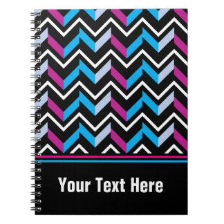 Personalized Text Magenta Blue Chevrons Notebook