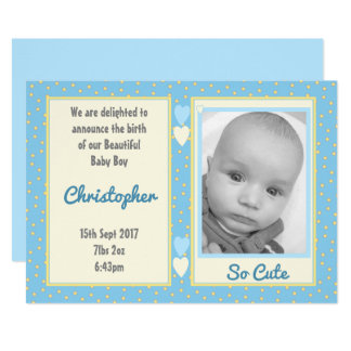 Personalized thank you baby boy photo card