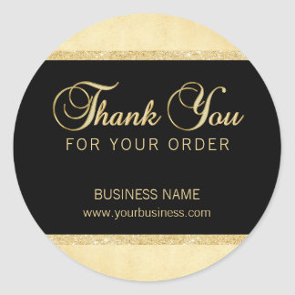 Personalized Thank You For Your Order Gold Black Classic Round Sticker