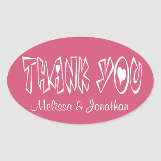 Personalized Thank You Pink Heart Stickers