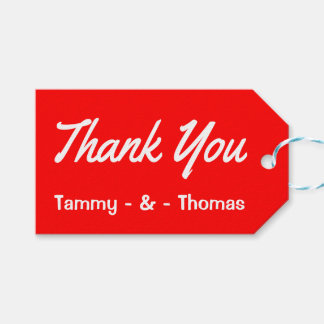 Personalized Thank You Red And White Gift Tags