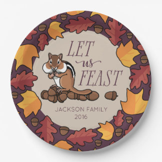 Personalized Thanksgiving Chipmunk Fall Feast 9 Inch Paper Plate