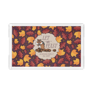 Personalized Thanksgiving Chipmunk Fall Feast Acrylic Tray
