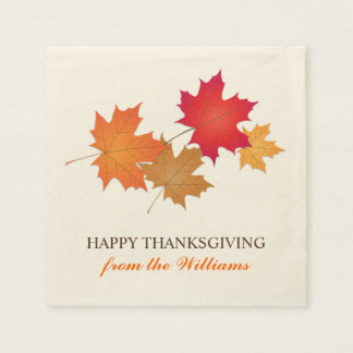 Personalized Thanksgiving Napkins   Fall Leaves Disposable Serviette