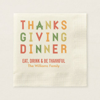 Personalized Thanksgiving Napkins | Fall Letters Disposable Serviette