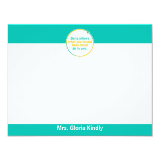 "PERSONALIZED ""THE GOLDEN RULE"" NOTECARD 11 CM X 14 CM INVITATION CARD"