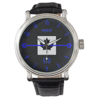 Personalized Thin Blue Line Dial on Canadian Flag Watch