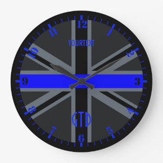 Personalized Thin Blue Line Dial Union Jack on a Large Clock