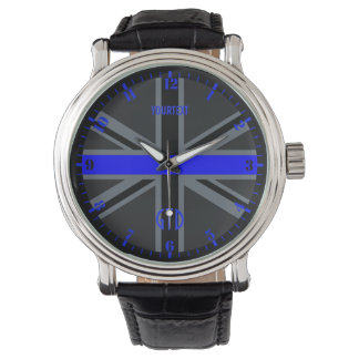 Personalized Thin Blue Line Dial Union Jack Watch