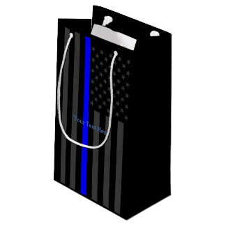 Personalized Thin Blue Line Grey US Flag Decor Small Gift Bag