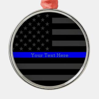 Personalized Thin Blue Line Grey US Flag Keepsake Christmas Ornament