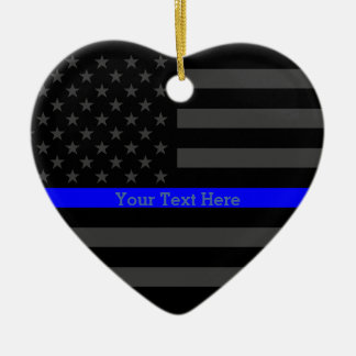 Personalized Thin Blue Line Grey US Flag Your Text Christmas Ornament