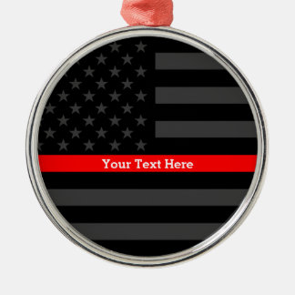 Personalized Thin Red Line Grey US Flag Keepsake Christmas Ornament