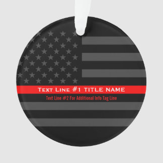 Personalized Thin Red Line Grey US Flag on a Ornament