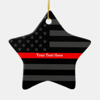 Personalized Thin Red Line Grey US Flag Your Text Christmas Ornament