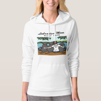 Personalized Three Black Labradors and Mom Hoodie