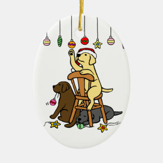 Personalized Three Labrador Puppies Cartoon Christmas Ornaments