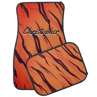 Personalized Tiger Stripes Orange and Black Car Mat