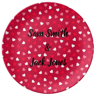 Personalized Tiny Valentine Hearts Red White Pink Plate