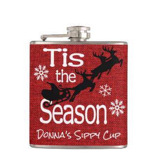 Personalized Tis the Season Hip Flask