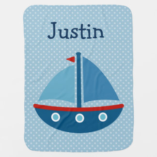 Personalized toy boat polkadotted baby blanket