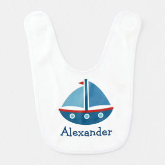 Personalized toy sailboat baby bib with kids name