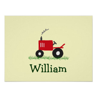 Personalized Tractor Wall Art: Red Tractor Poster