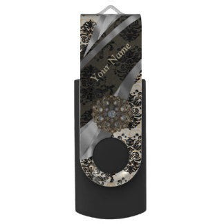 Personalized traditional vintage damask USB flash drive