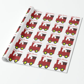 Personalized Train Design Birthday Wrapping Paper