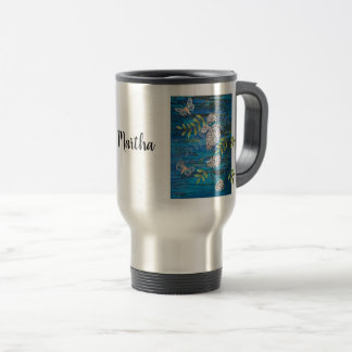 Personalized Travel Mug with Night Moths & Flowers