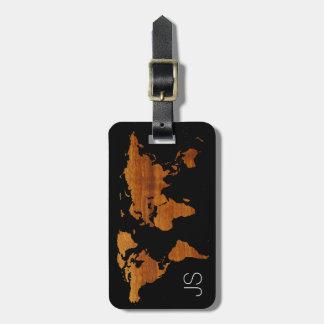 personalized traveler wood world map luggage tag