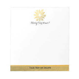 Personalized Trendy Gold Foil Star Merry Christmas Notepad