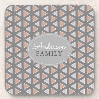 Personalized Trendy Gray & Tan Geometric Pattern Coaster