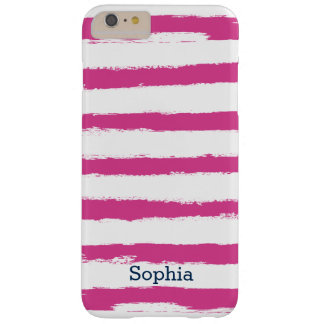 Personalized Trendy Pink STRIPES Brushstrokes Barely There iPhone 6 Plus Case