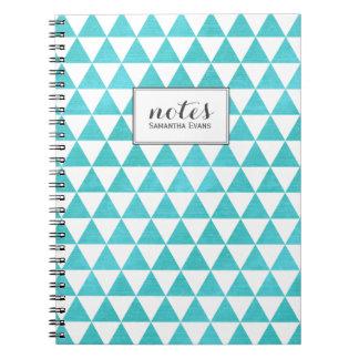 Personalized Triangles Aqua Blue Geometric Pattern Spiral Notebook