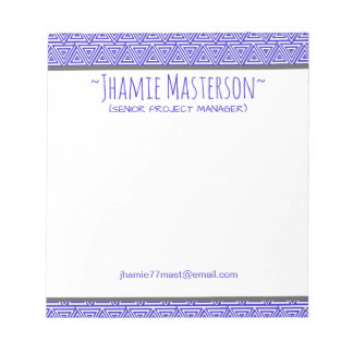 Personalized Tribangled Blue Notepad