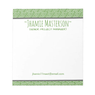 Personalized Tribangled Green Notepads