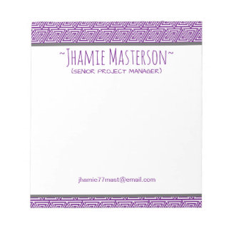 Personalized Tribangled Purple Notepad
