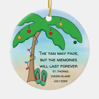 Personalized Tropical Beach Christmas Christmas Ornament