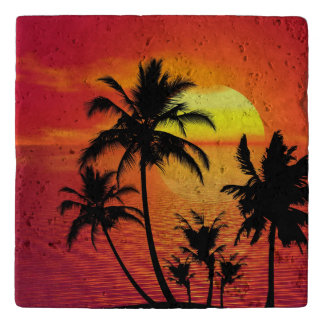 Personalized tropical beach sunset trivet