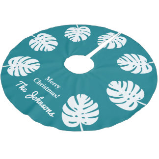 Personalized tropical Christmas palm leaf Holiday Brushed Polyester Tree Skirt