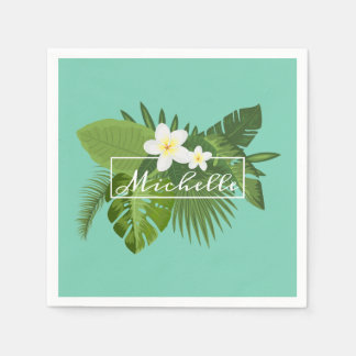 Personalized Tropical Floral Frame | Napkin Disposable Napkin