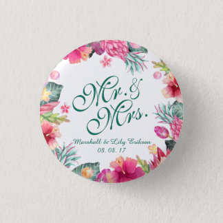 Personalized Tropical Floral Wedding Pin Button