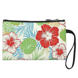 Personalized Tropical Hibiscus Hawaiian Floral Wristlet