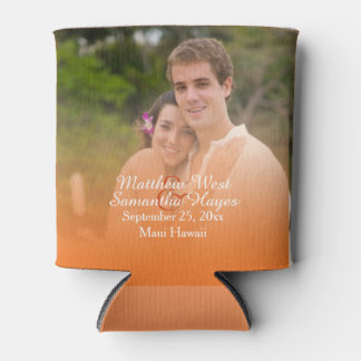 Personalized Tropical Orange Beach Wedding Photo Can Cooler