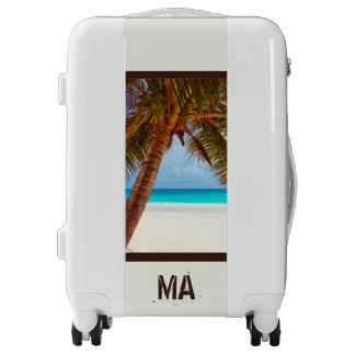Personalized Tropical Relaxing Blue Beach Scene Luggage
