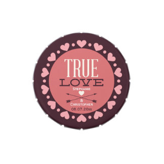 Personalized True Love Wedding Favors Jelly Belly Tins