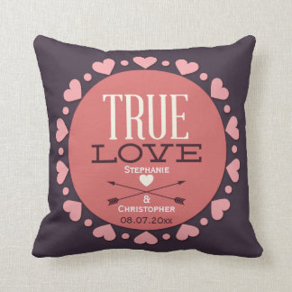 Personalized True Love Wedding Gift Throw Cushions