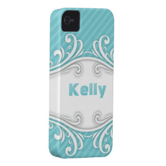 Personalized Turqoise Stripes and Fancy Frame iPhone 4 Cover