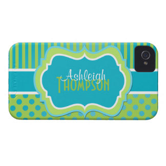 Personalized Turquoise and Lime Striped Polka Dots iPhone 4 Cover